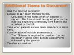 additional items to document