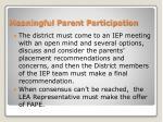 meaningful parent participation