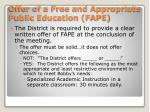 offer of a free and appropriate public education fape