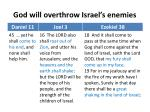 god will overthrow israel s enemies