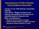 development of fda s obesity drug guidance document