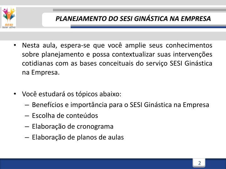Planejamento do sesi gin stica na empresa