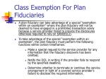 class exemption for plan fiduciaries