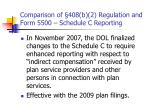 comparison of 408 b 2 regulation and form 5500 schedule c reporting