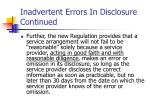 inadvertent errors in disclosure continued