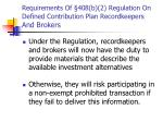 requirements of 408 b 2 regulation on defined contribution plan recordkeepers and brokers