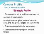 campus profile types of reports available1