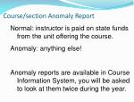 course section anomaly report