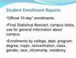 student enrollment reports