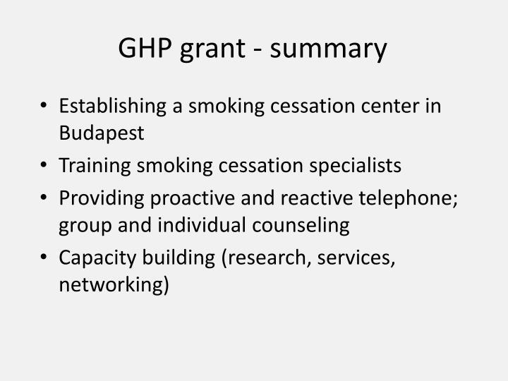 GHP grant - summary