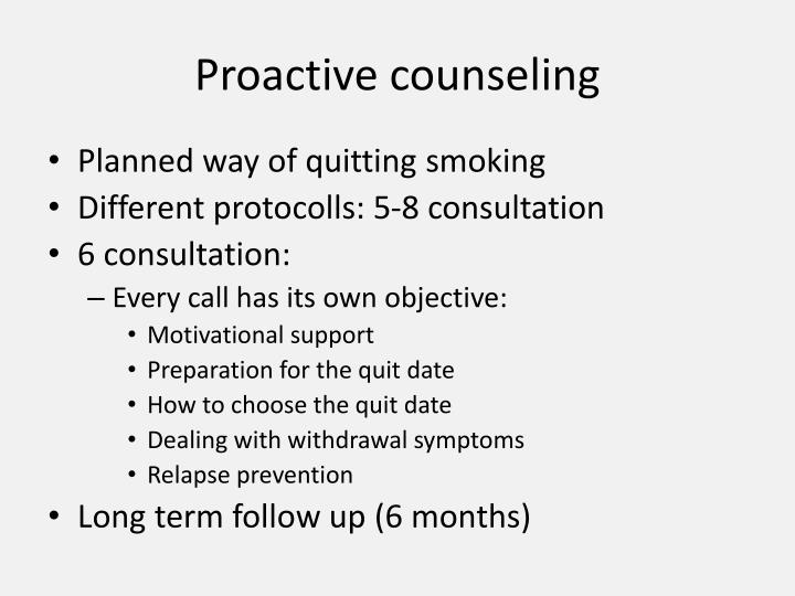 Proactive counseling