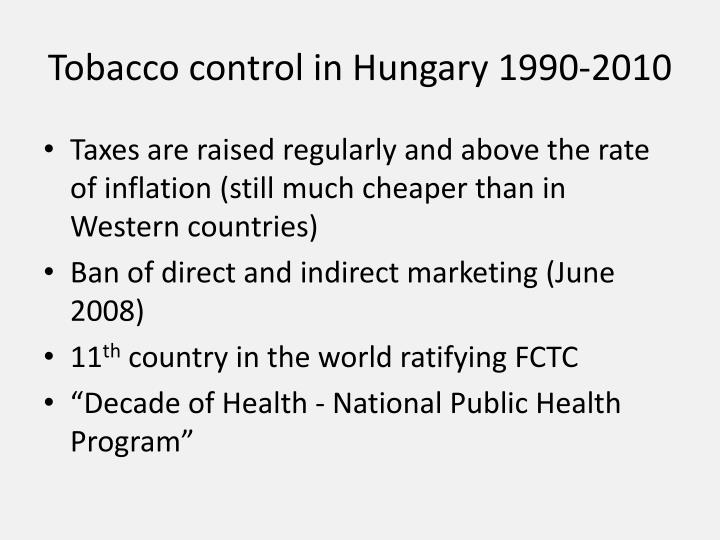 Tobacco control in Hungary 1990-2010