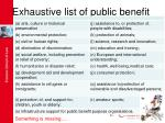 exhaustive list of public benefit