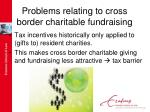 problems relating to cross border charitable fundraising