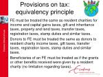 provisions on tax equivalency principle