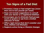 ten signs of a fad diet