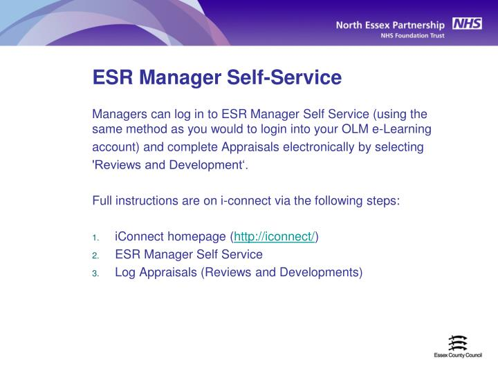 ESR Manager Self-Service