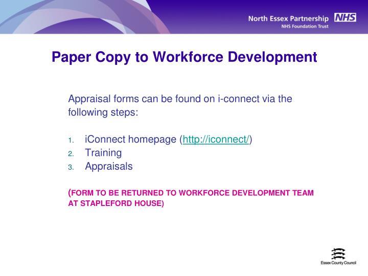 Paper Copy to Workforce Development