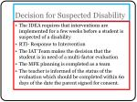 decision for suspected disability