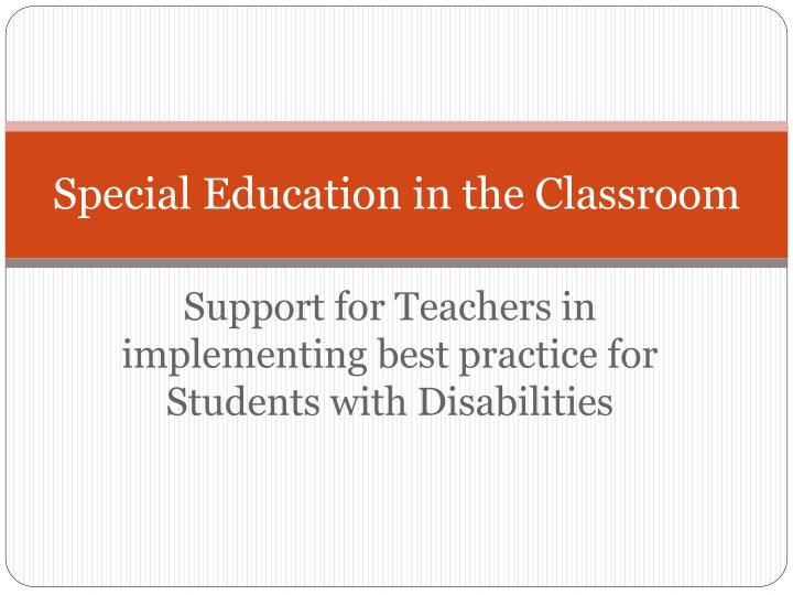 special education in the classroom n.