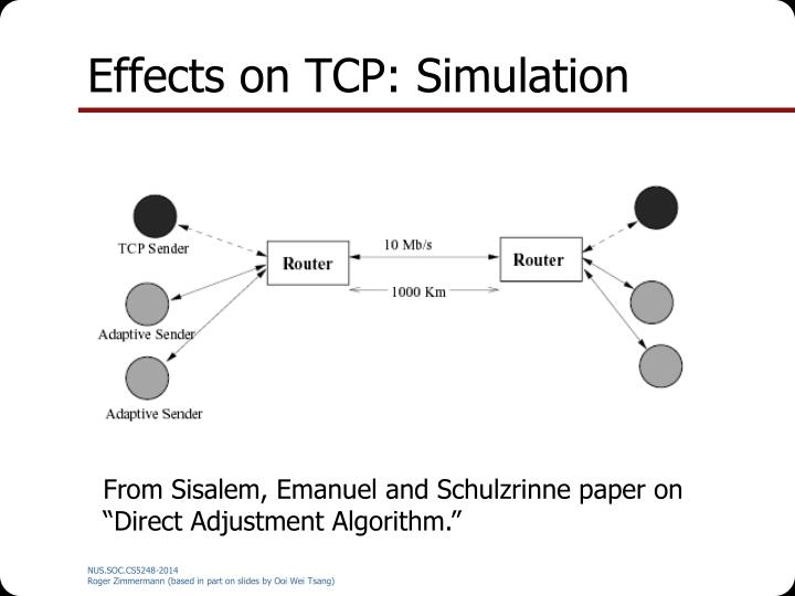 Effects on TCP: Simulation