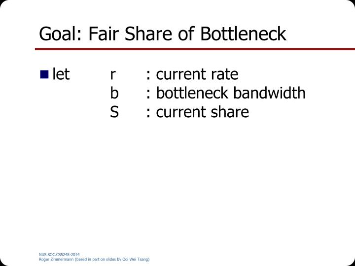 Goal: Fair Share of Bottleneck