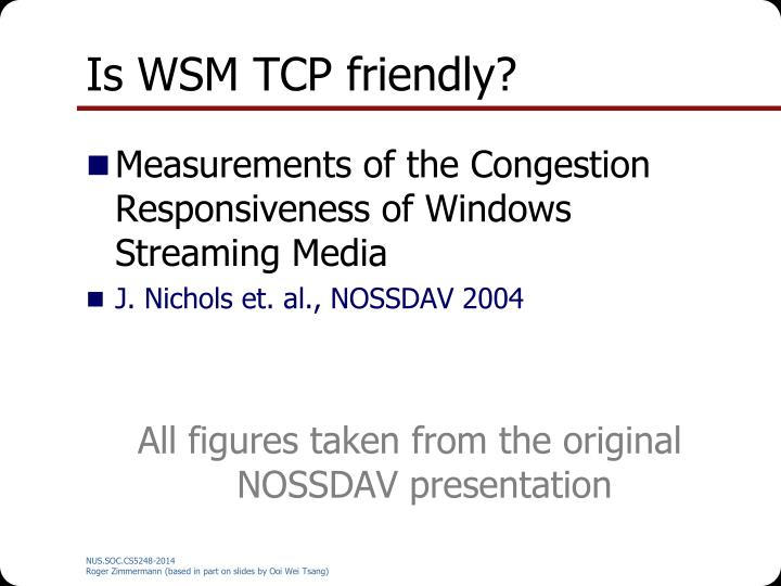 Is WSM TCP friendly?