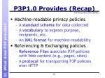 p3p1 0 provides recap