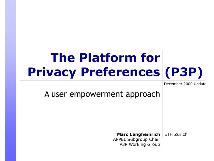 the platform for privacy preferences n.