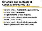 structure and contents of codex alimentarius 1