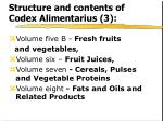 structure and contents of codex alimentarius 3