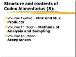 structure and contents of codex alimentarius 5