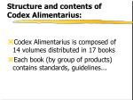 structure and contents of codex alimentarius