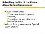 subsidiary bodies of the codex alimentarius commission