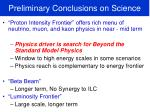 preliminary conclusions on science