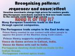 recognizing patterns sequences and cause effect