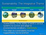 sustainability the integrative theme