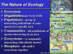 the nature of ecology