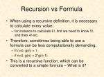 recursion vs formula