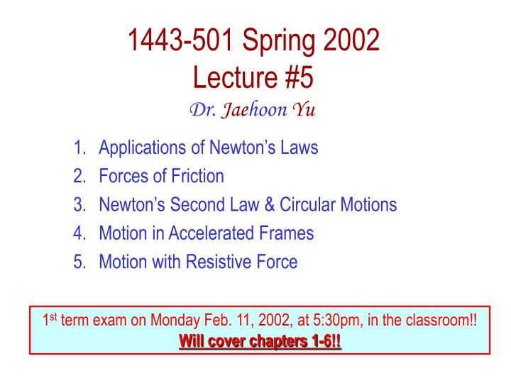 1443 501 spring 2002 lecture 5 n.