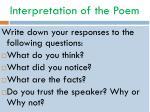 interpretation of the poem