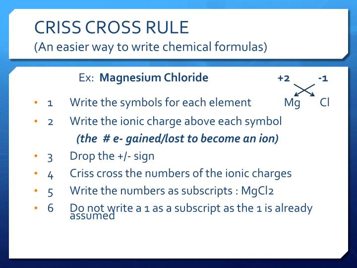 CRISS CROSS RULE