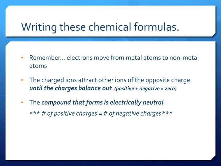 Writing these chemical formulas.