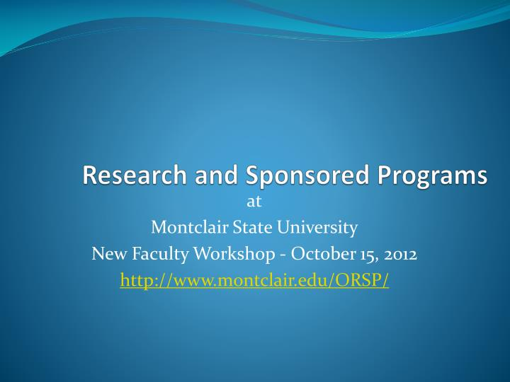 research and sponsored programs n.