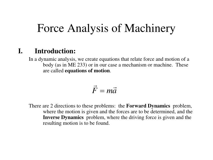 force analysis of machinery n.