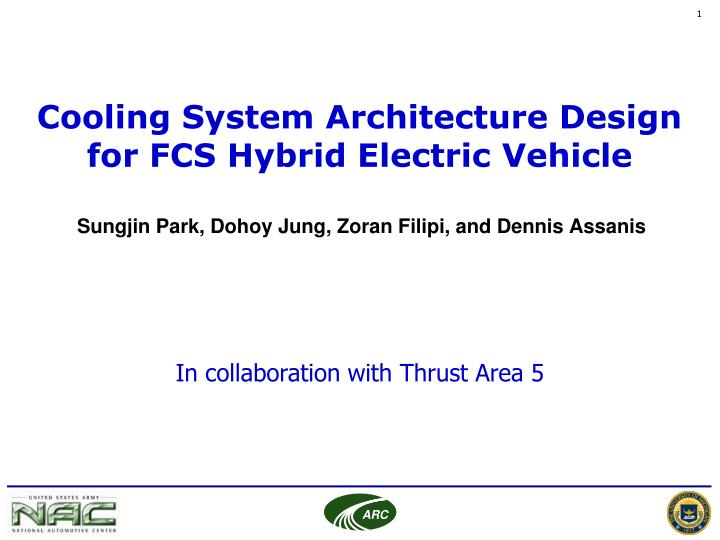 cooling system architecture design for fcs hybrid electric vehicle n.
