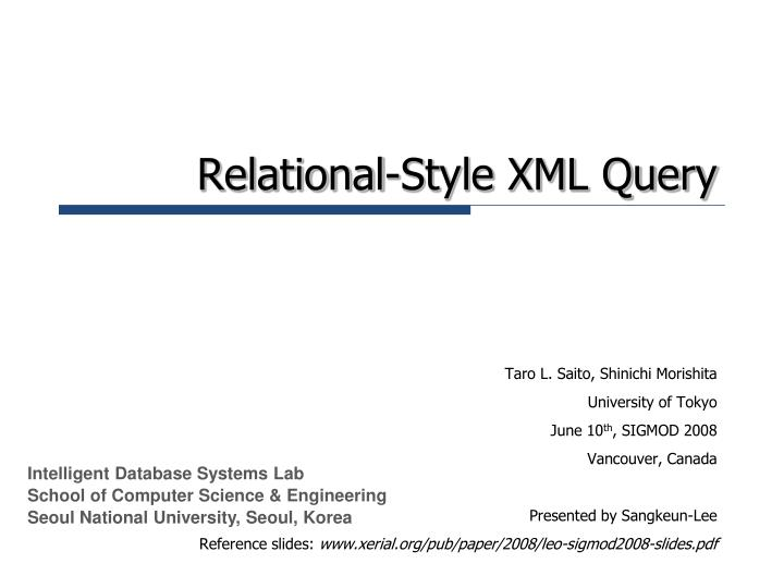 relational style xml query n.