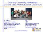 university community partnerships geriatric social work education consortium