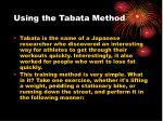 using the tabata method