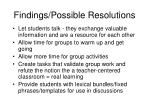 findings possible resolutions
